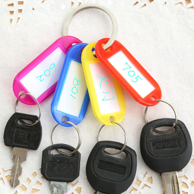 10pcs/lot Convenient Mini Classification Key Chains Unisex key lalel Cheap Candy Colors plastic light weight Tag number labels(China (Mainland))