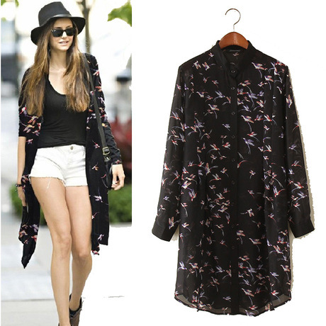 2015 summer new long section printed chiffon blouse large size shirt Ladies blouse Women Kimono cardigan camisas de mujer(China (Mainland))