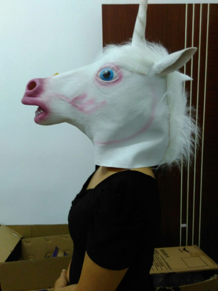 Christmas Gift Creepy Head Halloween Costume Theater Prop Novelty Latex Rubber Unicorn Mask(China (Mainland))