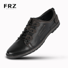 2016 FRZ Mens Casual Shoes Lace-up Action Leather Daily Men Flats Driving Travel Brown Chaussure Homme YM86820B - store