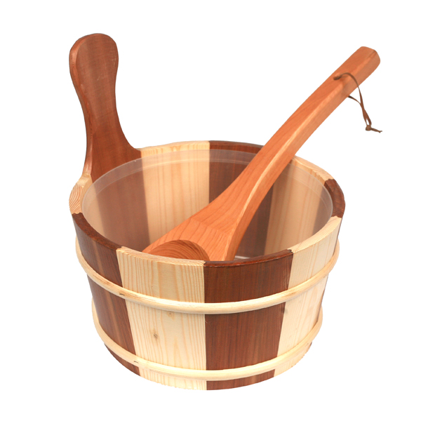 Гаджет  Free shipping  4L Sauna pail and ladle Red Cedar& Pine combined with Insert Factory Sauna accessories, Wholesaler, Sauna Dealer None Строительство и Недвижимость