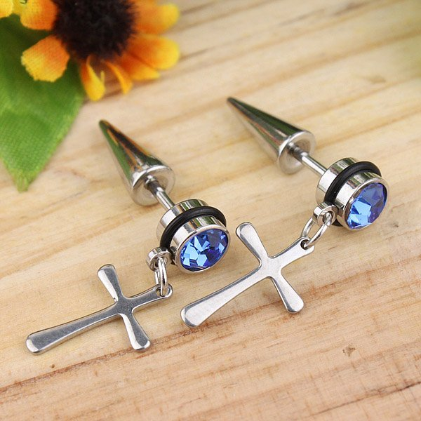 Free Shipping 3Color 12pair Charm Titanium steel Earring Fashion Cross Zircon Stud earrings Buy get free Gift
