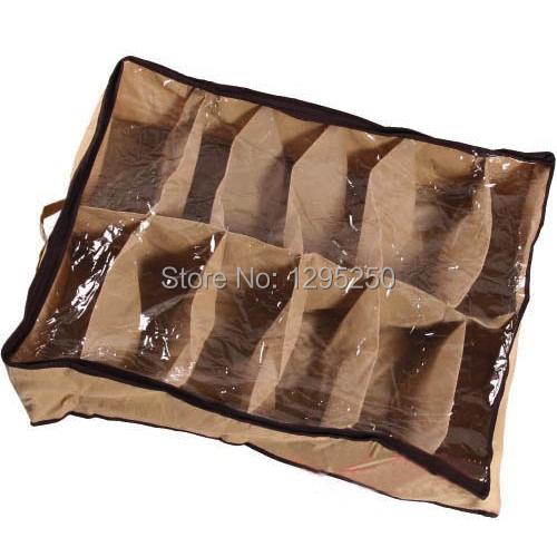 1pcs Free Shipping Fabric Dustproof Shoes Organizer Case Storage Bag Box Holder For 12 Pairs Shoes WpOk(China (Mainland))