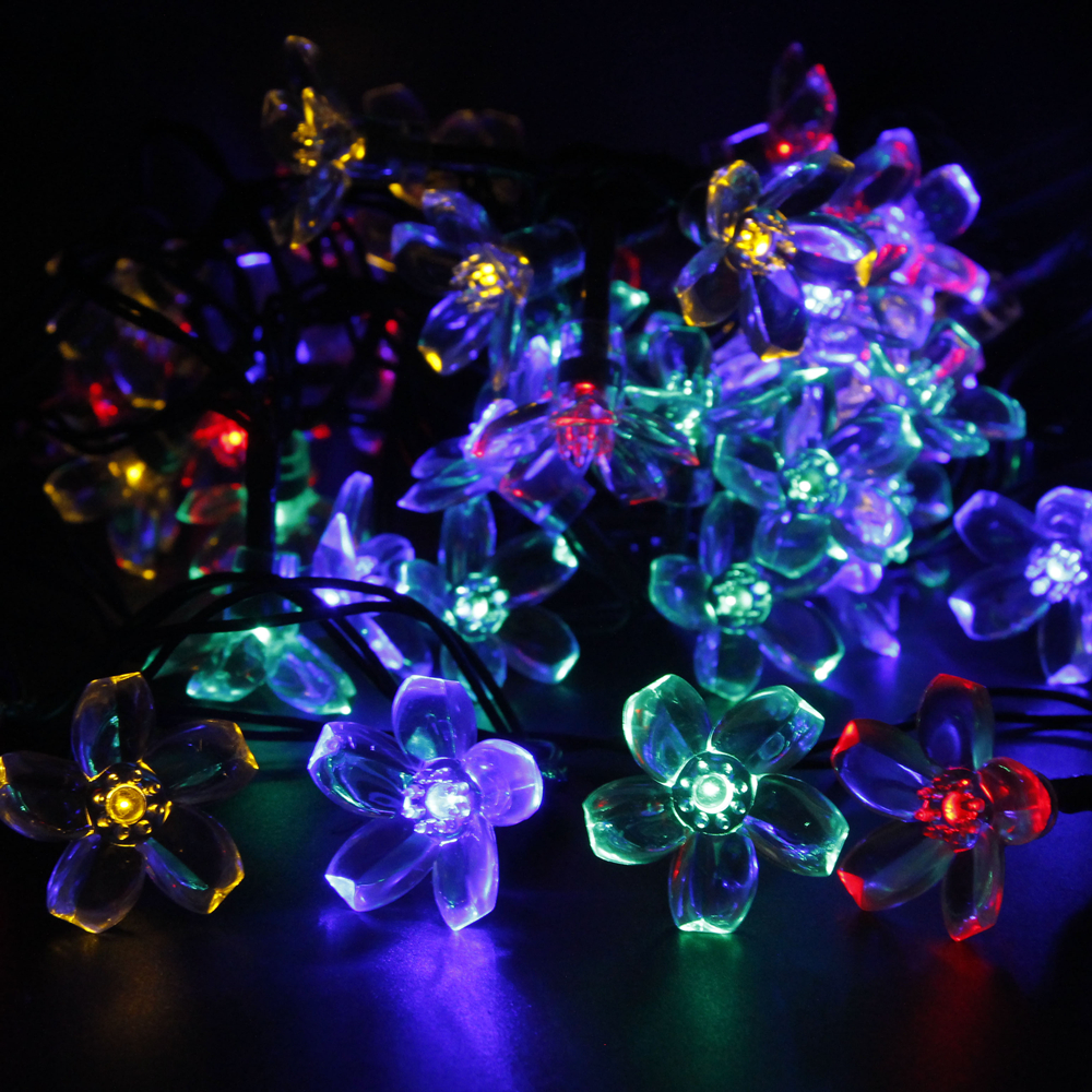 Solar Fairy Holiday String Lights 21ft 50 LED Multi color Gardens Christmas Trees Halloween ...