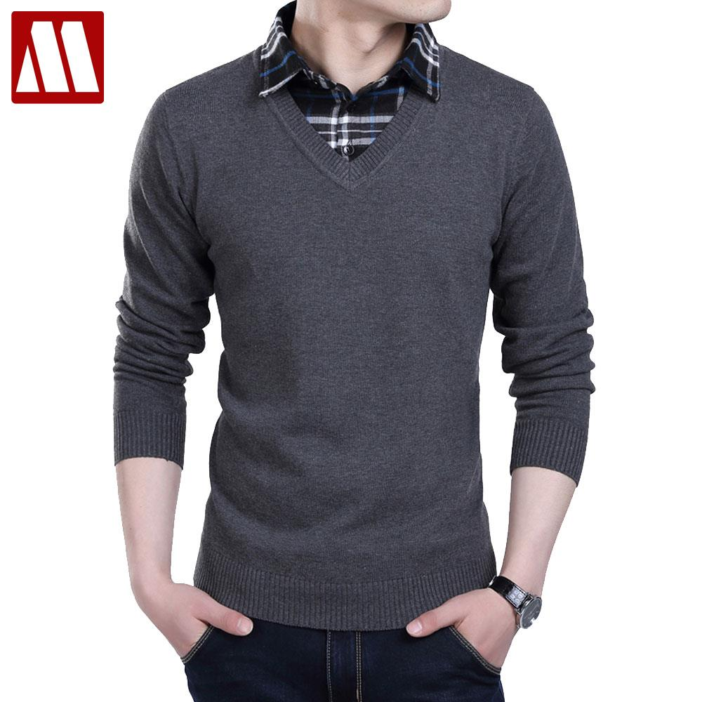 New winter 2016 Men sweater Fake two pieces pullover men cotton sweater Slim Fit V-Neck men polo sweaters plus size XS-6XL F022(China (Mainland))