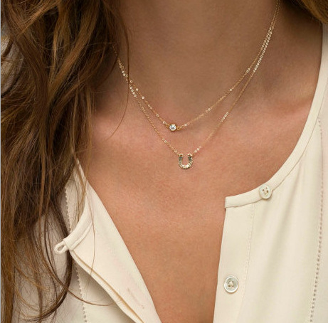 Simple Golden Coin Sequins Crystal Bead Double Chain Necklace Charms Pendants Necklaces Women Jewelry