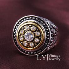2014 Новый дизайн ювелирных украшений стерлингового серебра 925 заполненный кристалл сменные поверхности кольца для женщин LYCB003(China (Mainland))