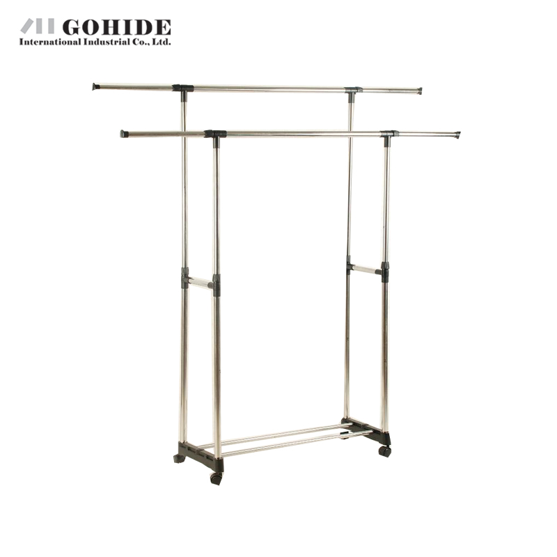 Gohide Indoor Hanger Double-Pole Folding Drying Rack French Lifting Hanger Stainless Steel Wheels Belt Coat Racks Home Furniture(China (Mainland))