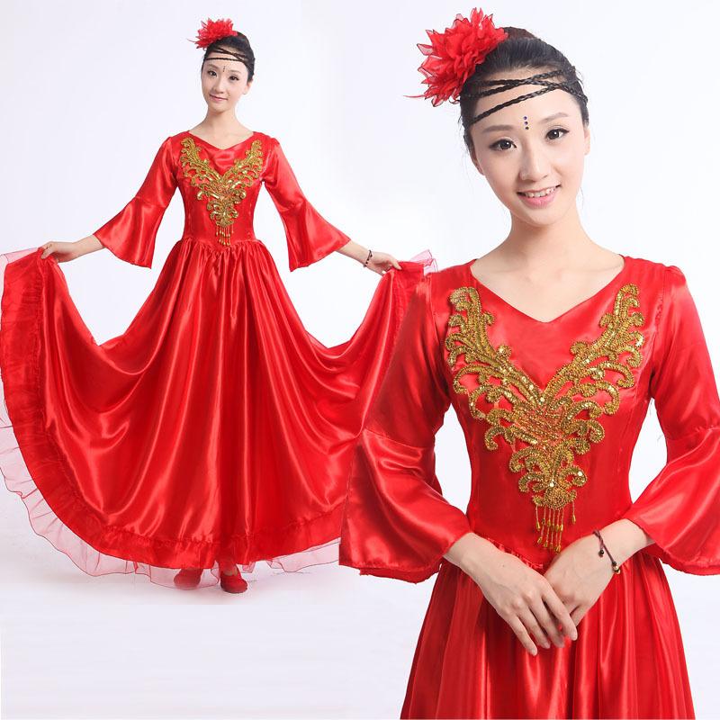 Red Flamenco dance costume expansion skirt costume modern dance performance wear petal skirt Spanish flamenco dress 360/540 L145