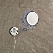"Newly 8"" Round Make Up Mirror Chrome Plate LED Light Bathroom Cosmetic Mirror Pocket Mirror Folding Arm(China (Mainland))"