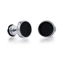 Men's Fashion Accessories Punk Rock Style Round Vintage Stud Earrings Silver / Gold Stainless Steel Earrings Man Jewelry GE302(China (Mainland))