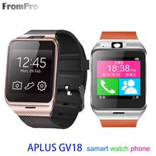 Bluetooth Reloj Inteligente Android Wear Aplus GV18 Smartwatch MTK6260 CPU con Tarjeta SIM Inteligente Relojes A Prueba de agua Teléfono Móvil