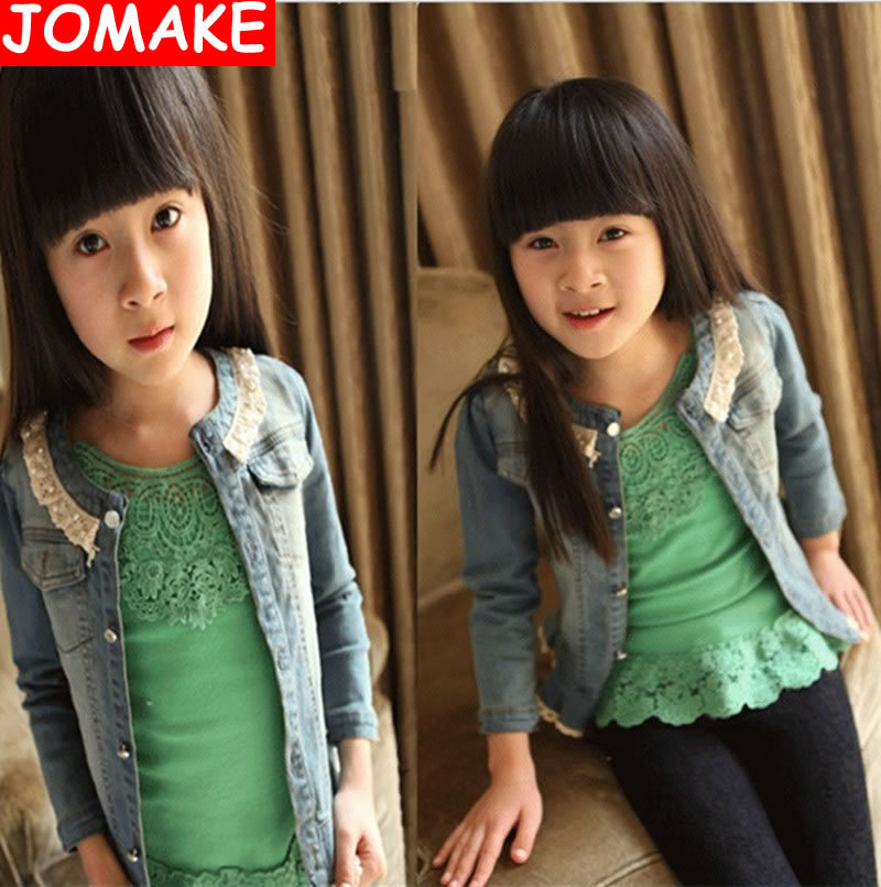 Retail,New Arrival Hot Selling O-Neck Solid Pattern Pearl Lace Spring Children Outerwear Denim Korean Cardigan Girls Jackets  <br><br>Aliexpress