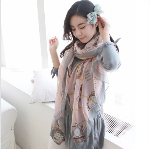 2014 wholesale woman print cotton voile long scarfs shawls neckerchief green khaki blue pink winter autumn ladies scarves wraps(China (Mainland))