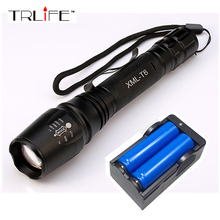 6000LM Flashlight CREE XM-L T6 LED Zoomable Focus Flashlight Torch Light+2x18650 Battery+US/EU Charger(China (Mainland))