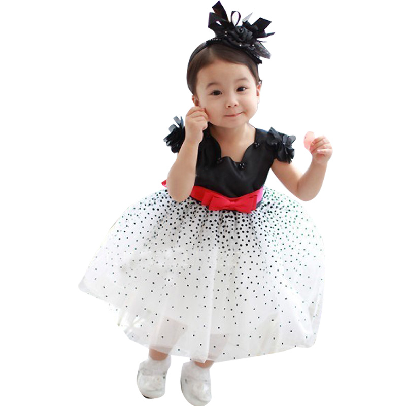 NEW HOT girls' dresses summer chiffon ball gown baby Red bowknot white party princess dress children clothing(China (Mainland))