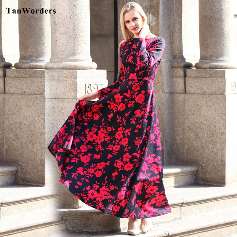 Red Floral Print Women Cotton Long Sleeve Maxi Dress 2016 Spring Elegant Designer Plus Size Dresses Slim Fit Flare Robe Femme(China (Mainland))