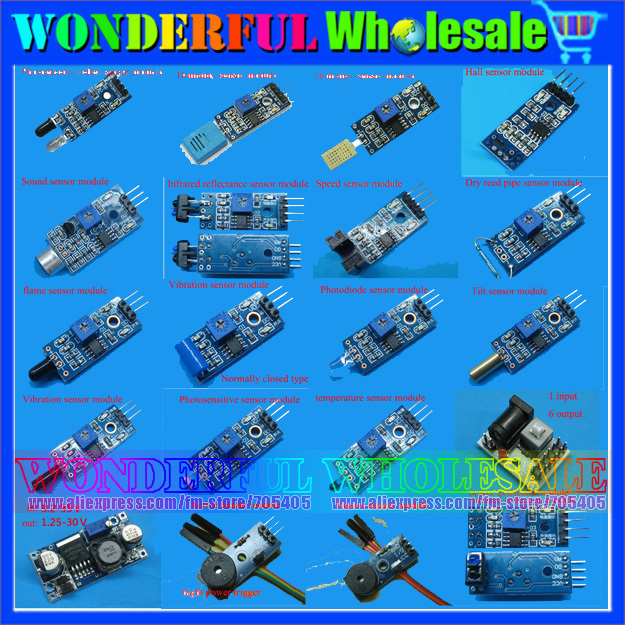 Free Shipping Helpful 20 in 1 For Arduino Starters Compatible Sensor Module Kit Vibration switch Flame Reed Hunt sensors