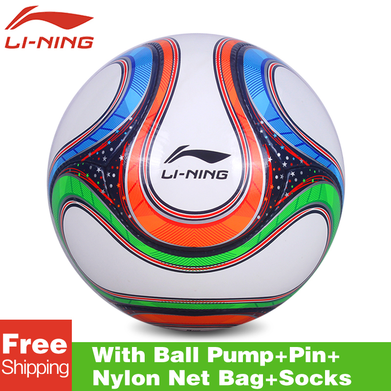 Original lining AFQK060 High Quality Standard Soccer Ball Training Balls soccer Official Size 5 PVC Soccer Ball free shipping(China (Mainland))