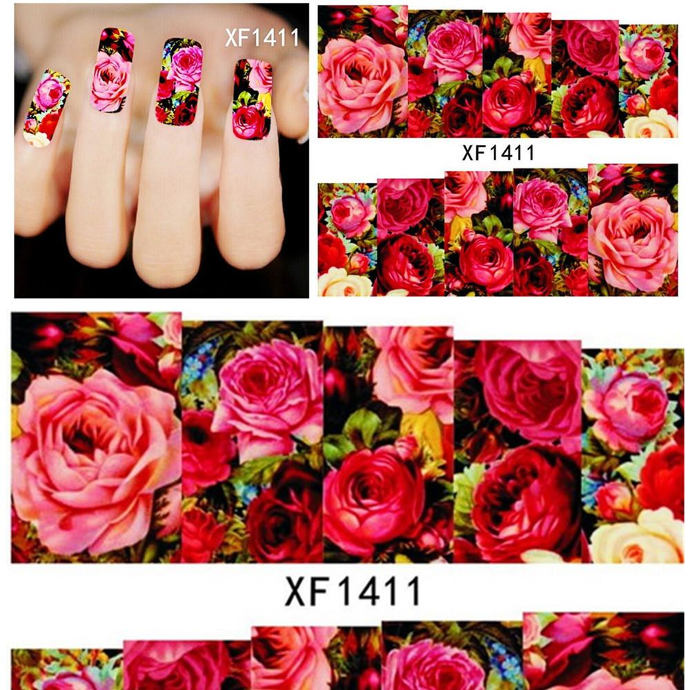 2016 Manicure Nails 2sheets Hot Designs Fashion Charm Flower Colorful 3d Tips Nail Art Stickers Water