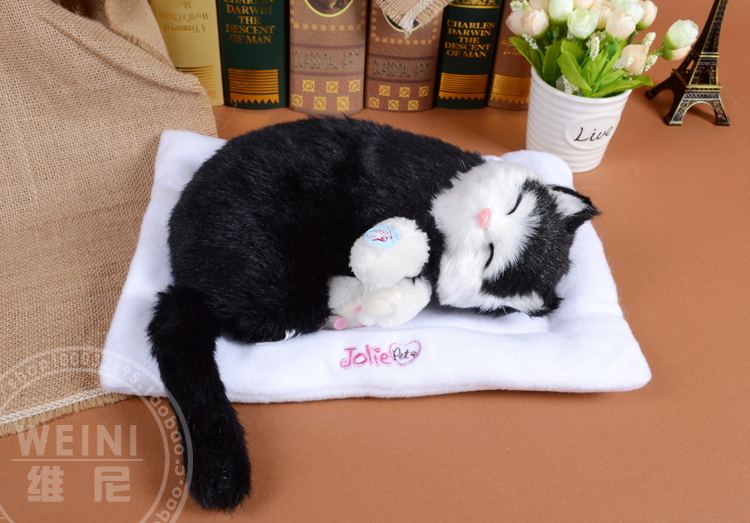 sleeping cat about 30cm black cat snoring breathing cat soft toy model,polyethylene & furs resin handicraft,gift h994(China (Mainland))