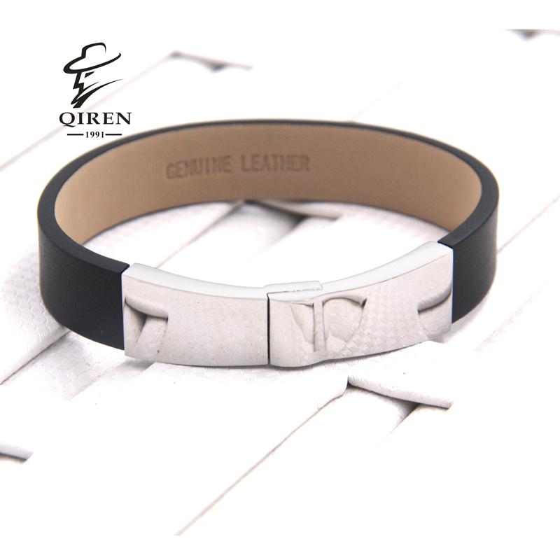 Hot Rock Handmade Black Genuine Leather Bracelets & Bangle Hip-Hop Punk Bracelets Men Jewelry Accessory(China (Mainland))