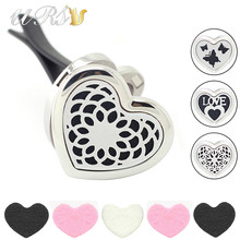 Buy 30mm peach heart magnetic diffuser aromatherapy free pads stainless steel essential oil diffuser car locket perfume car clip for $5.80 in AliExpress store