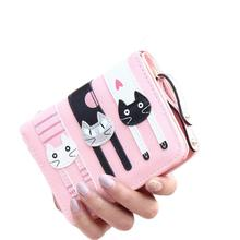 Women Wallet Girl Mini Lovely Purse Gato Sewing On Clutch Bifold PU Leather Wallet Card Holder #2415(China (Mainland))