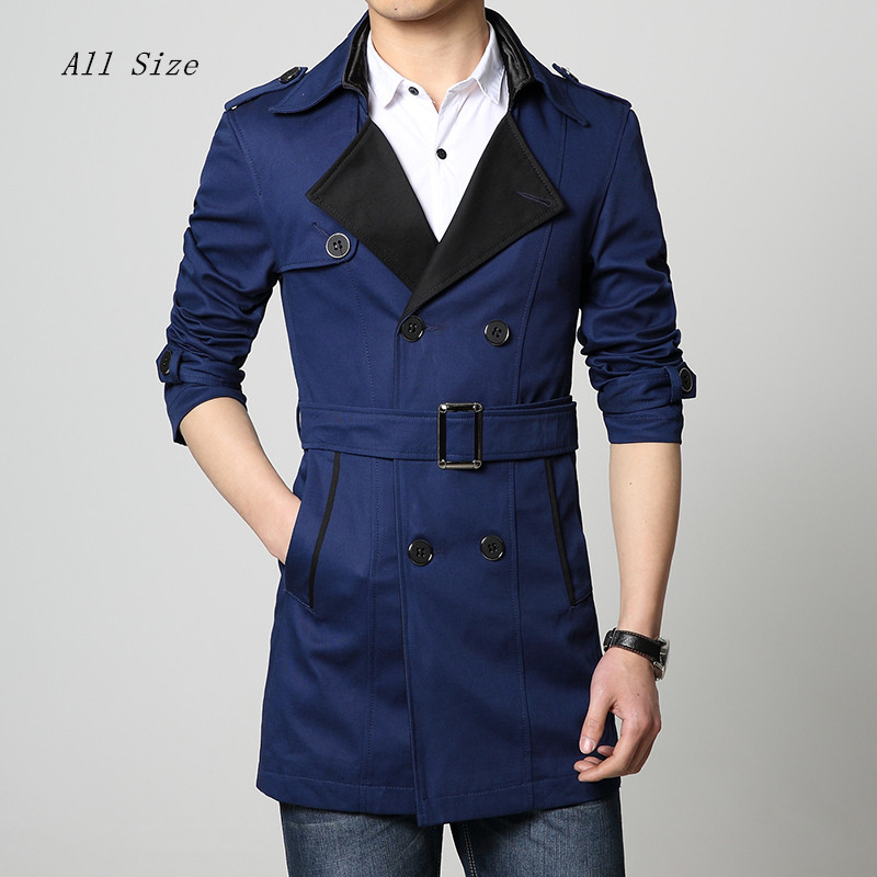 2015 fashion mens trench double breasted long coat for men casaco masculino manteau homme jacket mens overcoat plus size M-6XLОдежда и ак�е��уары<br><br><br>Aliexpress