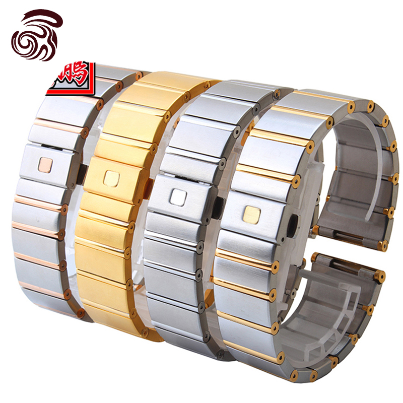 Quality Solid Stainless Steel Watchband 18mm23mm25mm Grace Rose Gold Watch Bracelet For Omega CONSTELLATION/Double Eagle Strap(China (Mainland))
