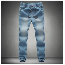 Closing leg jeans spring 2016 new fashion male taxi fertilizer XL elastic stretch pants feet pants tide beam(China (Mainland))