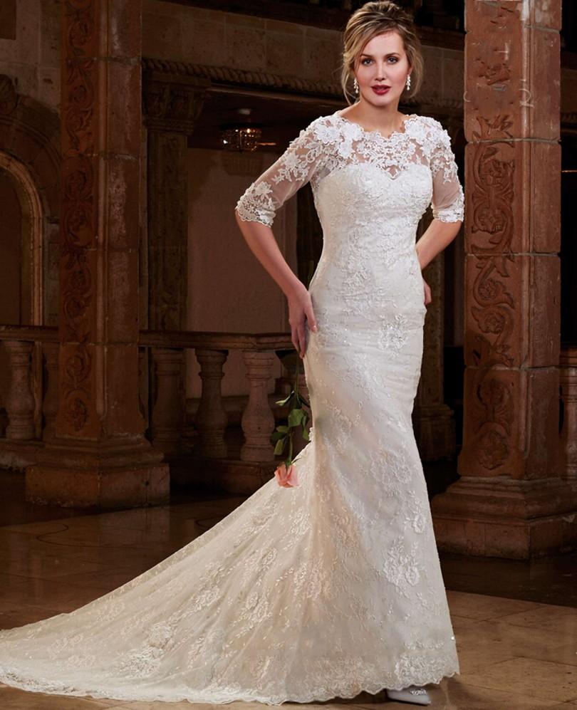 Stunning lace wedding dresses mermaid style half sleeve for Half sleeve wedding dress