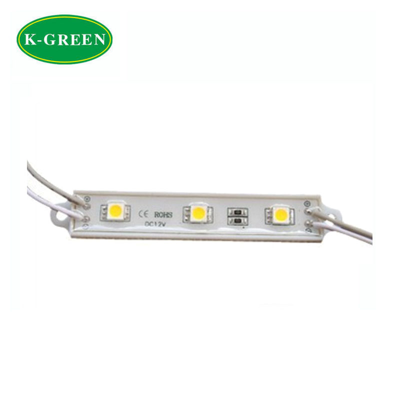 500X High quality 75*12mm DC12V 3LEDs 5050SMD led module light White /Red/Green/ Blue/ Yellow/RGB ip67 express free shipping(China (Mainland))
