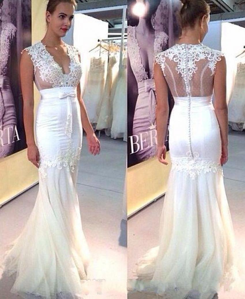 Berta 2016 mermaid bridal gown sheer low v neck tulle for Low cut mermaid wedding dress