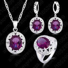 אלגנטי נשים 925 סטרלינג כסף סגול קריסטל תליוני שרשראות עגיל טבעת סט לחתונה אירוסין תכשיטי מתנה(China)
