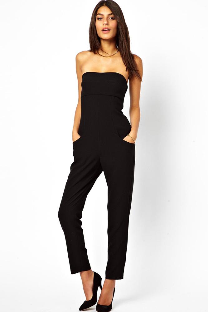 Luxury New Sexy Women Strapless Jumpsuits 2015 Women 6XL Black Jumpsuit