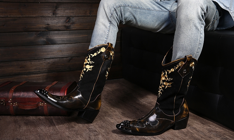 Super Cool! Rock personality Men boots knight Motocycle boots Leather cowboy boots for Men, Men Leather Shoes, EU38-46!(China (Mainland))