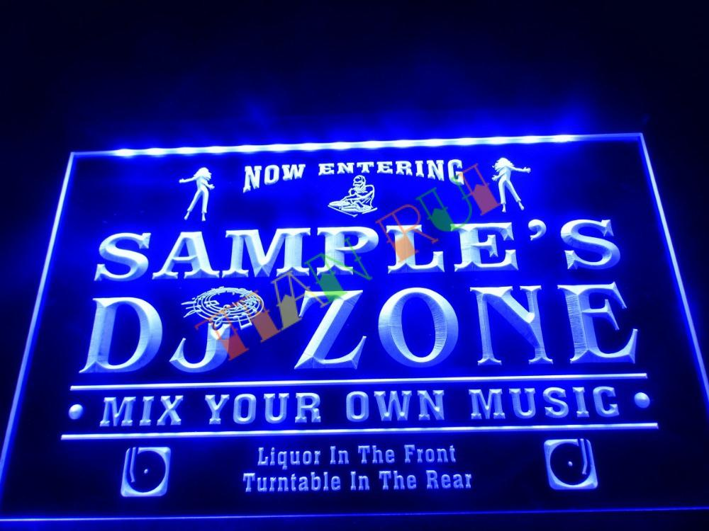 DZ038- Name Personalized Custom DJ Zone Music Turntable Disco Bar Beer Neon Sign hang sign home decor shop crafts(China (Mainland))