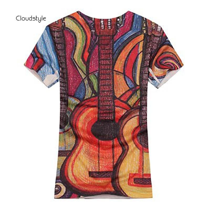 male t shirts spring Summer fashion t shirt Casual V-neck Guitar digital printing 3d mens t-shirts 2014 new big size 604Одежда и ак�е��уары<br><br><br>Aliexpress