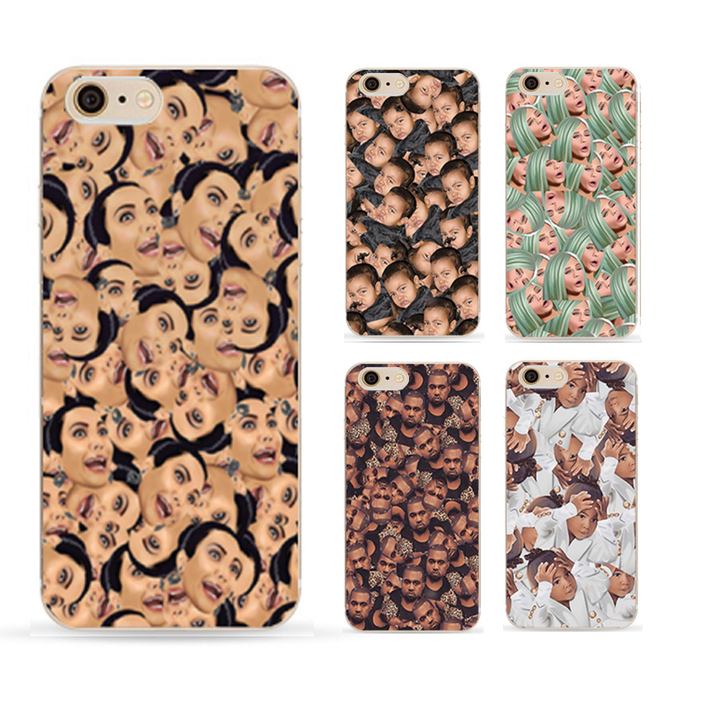 Funny Head Kim Kardashian's Family Kimoji Design Cell Phone Cases For Apple iphone 4 4s 5 5s 5c 6 6s plus Back Cover Cute case(China (Mainland))