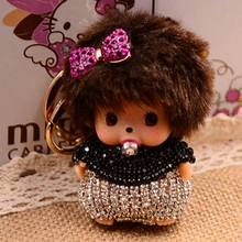 Bow-Knot Rhinestone Monchhichi Gold Metal Keychain Monchichi Car Keyring Purse Messenger Bag Backpack Key Chain Pendant K-050