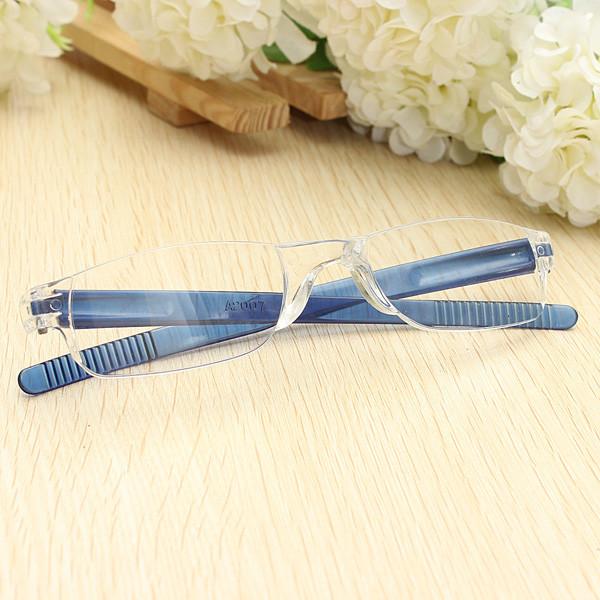 Lightweight Blue Rimless Resin Magnifying Reading Glasses 1 1 5 2 2 5 3 Presbyopic Glasses