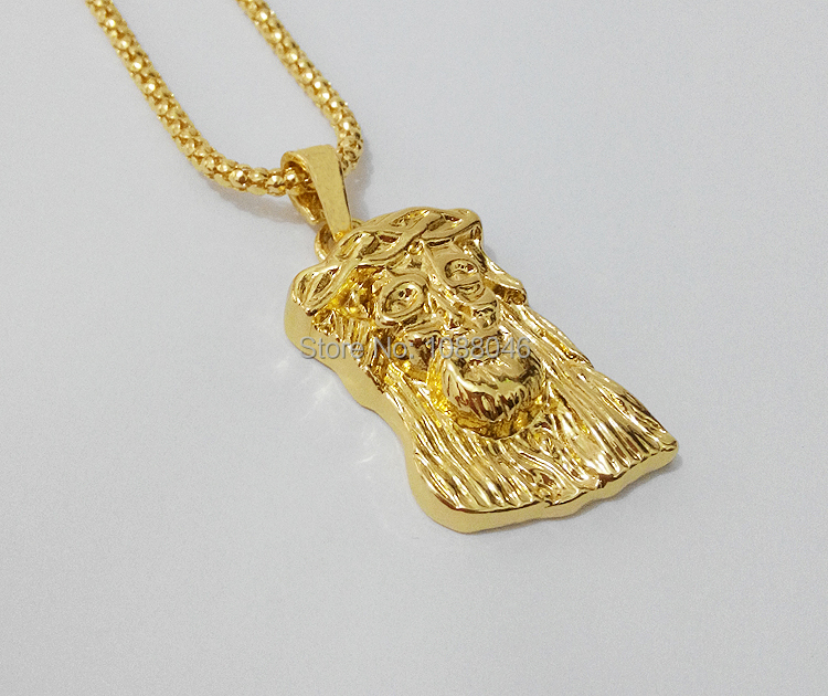 Fashion 24k gold filled jesus piece pendant necklace men jewelry hip hop rock long chain 89cm(35 inch) - Boutique Phone Case Store store