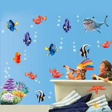 Neue Fische Meeresboden NEMO Wandaufkleber Cartoon Wandaufkleber Dekor-entfernbare Vinyl Kindergarten Kinderzimmer Abziehbilder(China (Mainland))