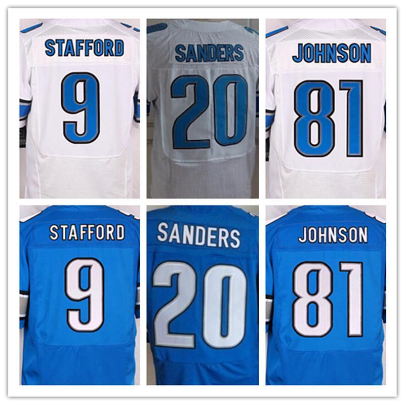 La mejor calidad jersey, hombres 9 Matthew Stafford 20 Barry Sanders 81 Calvin Johnson elite jersey, Blanco, azul, Tamaño M-XXXL(China (Mainland))