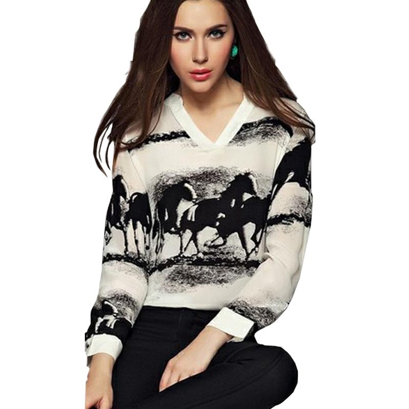 2015 New Blouse Summer Clothes Women Long Sleeve Casual Black Horse White Shirt Chiffon Tops Blouse Loose Discount Freeship(China (Mainland))