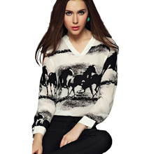 2015 New Blouse Summer Clothes Women Long Sleeve Casual Black Horse White Shirt Chiffon Tops Blouse Loose Discount Freeship(China (Mainland))