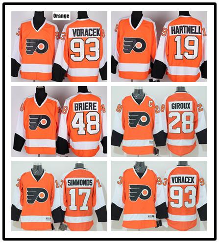 17 Wayne Simmonds Men 27 Ron Hextall Hockey Jersey 19 hartnell 48 Daniel Briere 93 Jakub Voracek 28 Claude Giroux Jersey(China (Mainland))
