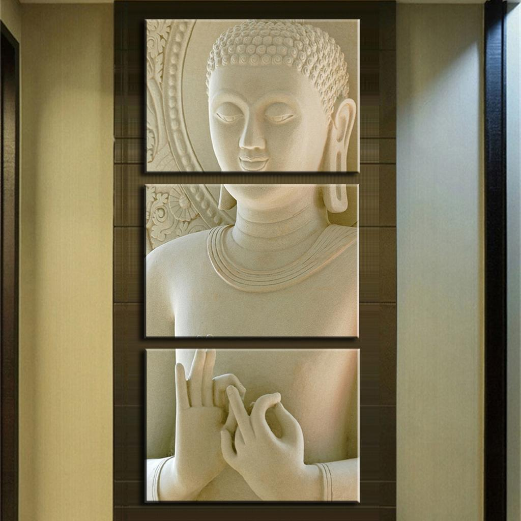 Buy modern buddha painting 3 picture home decoration white marble buddha - Wall paintings for home decoration ...
