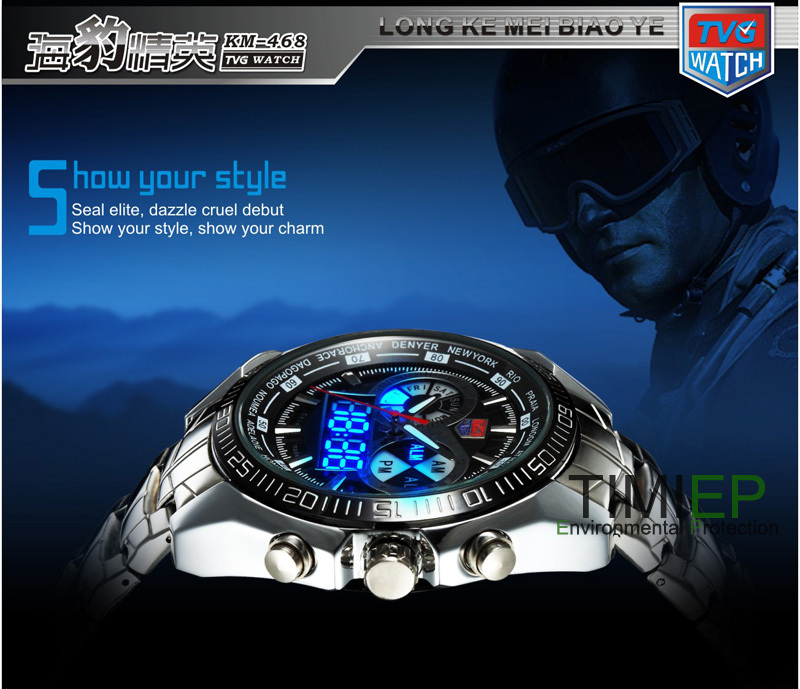 Hight Quality Stainless Steel Black Men's Clock Fashion Blue Binary LED Pointer Watch Mens 30AM Waterproof Watches - Guangzhou TIMI Trade Co., Ltd. store